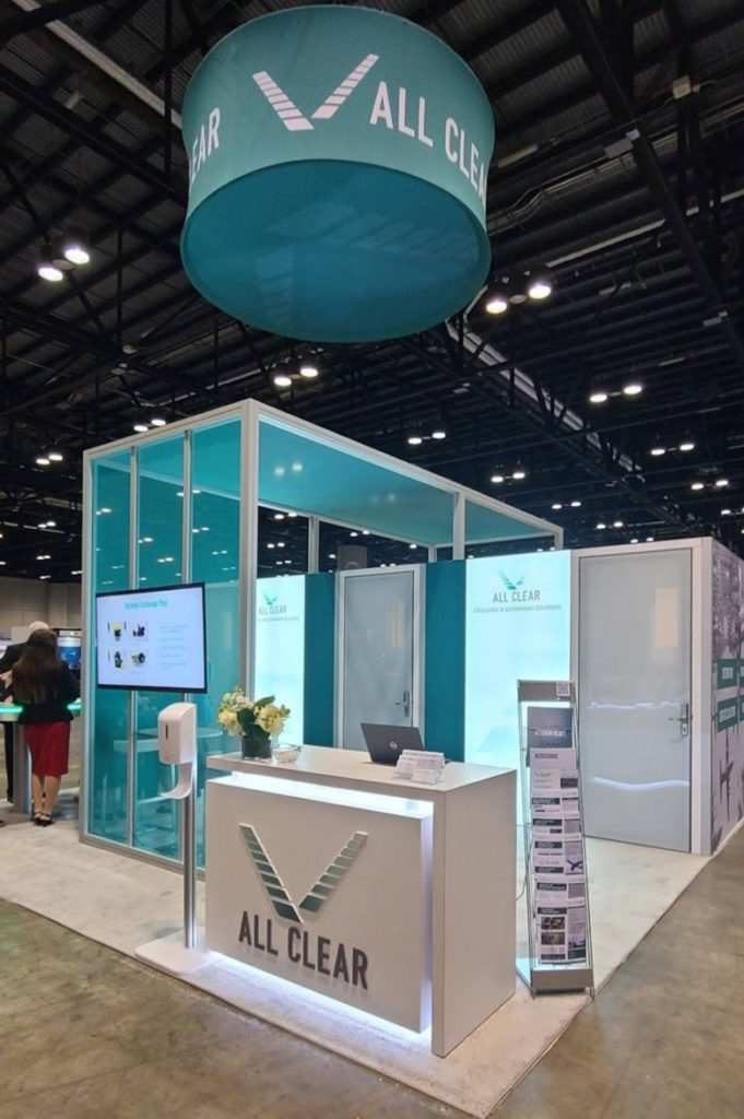 All Clear trade show booth