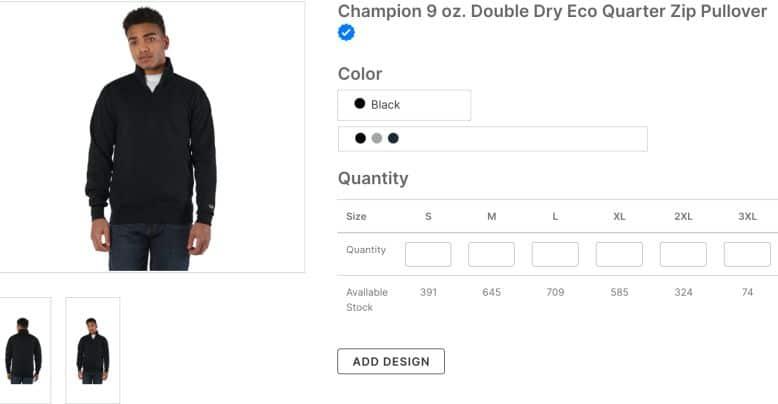 Champion 9 oz Double Dry Eco Quarter Zip Pullover