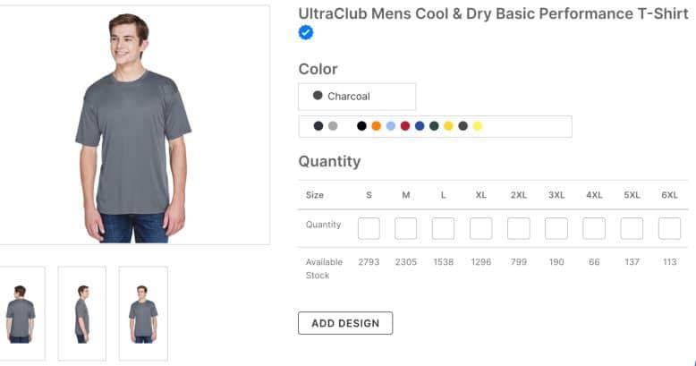 UltraClub Mens Cool & Dry Basic Performance T-Shirt