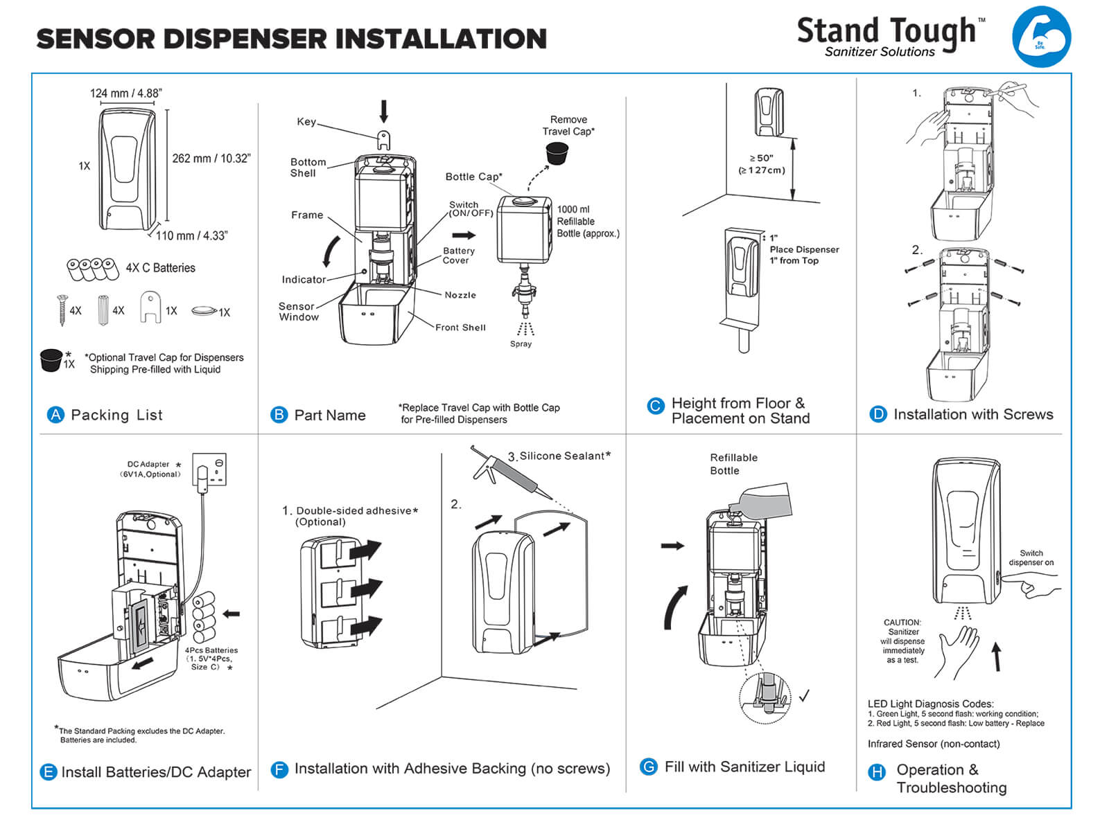 OPTIONAL Automatic Sanitizer Dispenser with Touch-Less Sensor