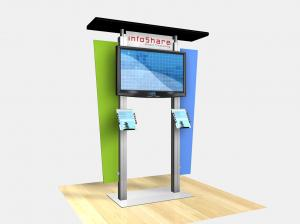 RE 1231 Large Monitor Kiosk with Flat Canopy