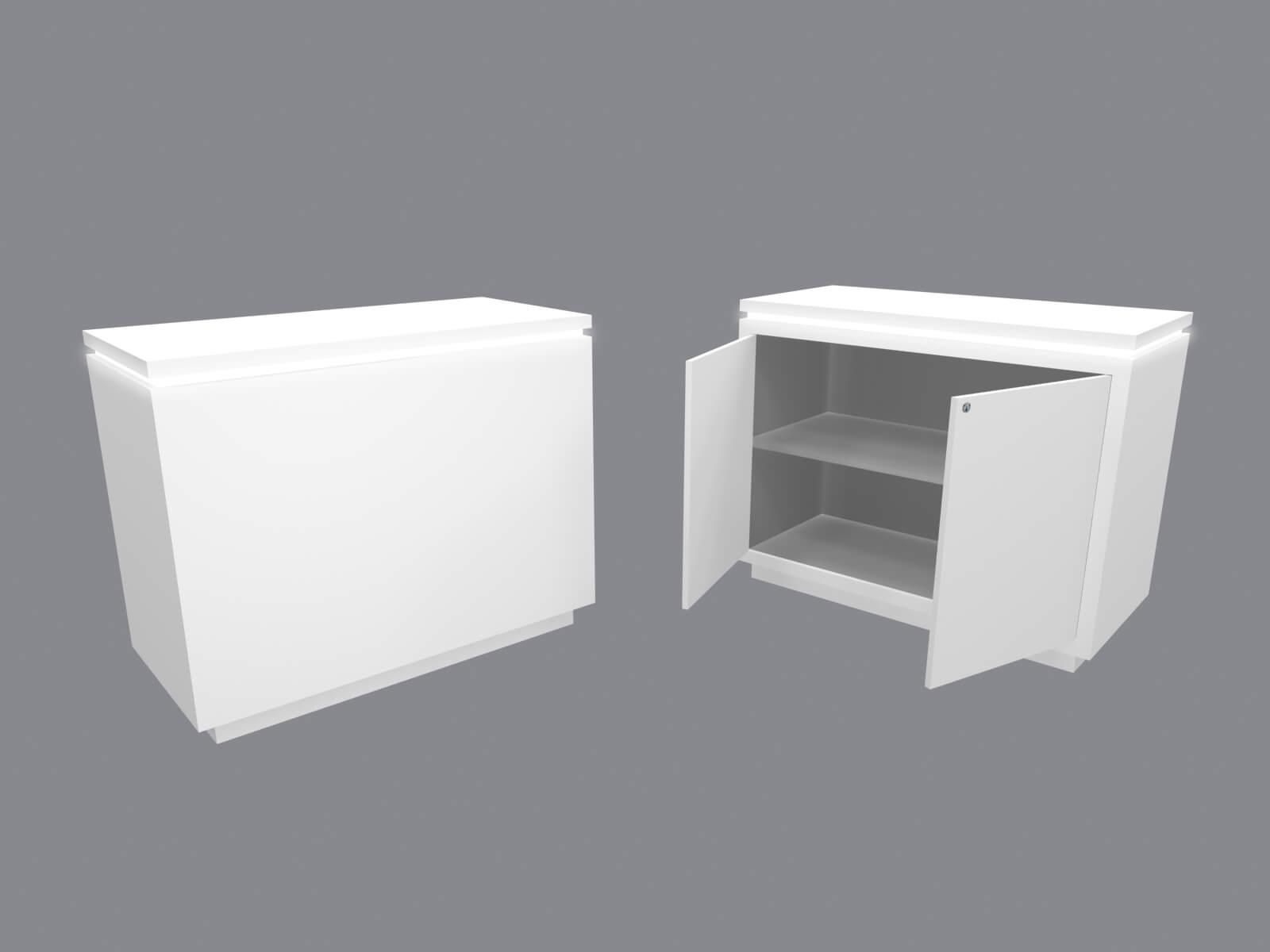 RE-1576 Trade Show Custom Rental Counter with Doors and Interior Shelf