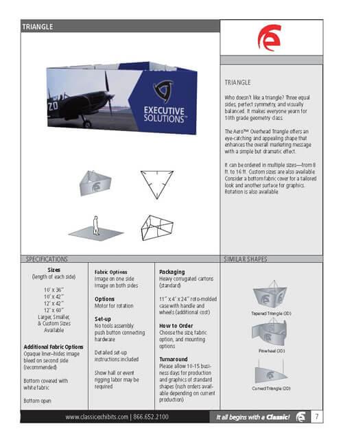 Aero Overhead Hanging Sign 3D Triangle