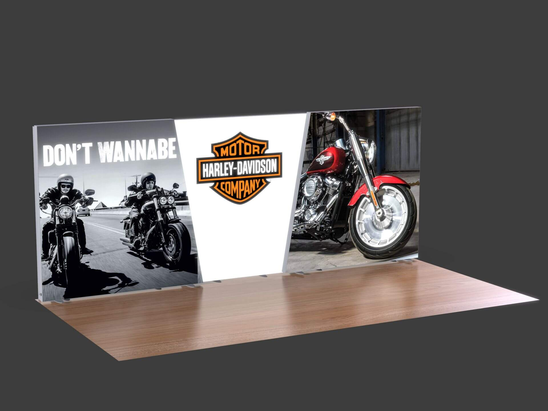 LumiWall Trapezoid Accent 20' x 8' LED Backlit Fabric Display LWT-04