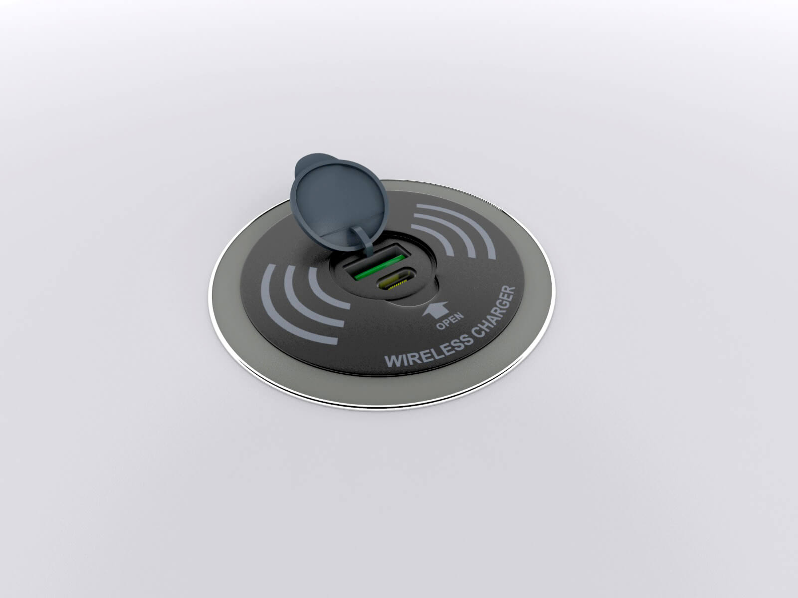 Wireless and Wired Charging Pad - View 2 (Open)